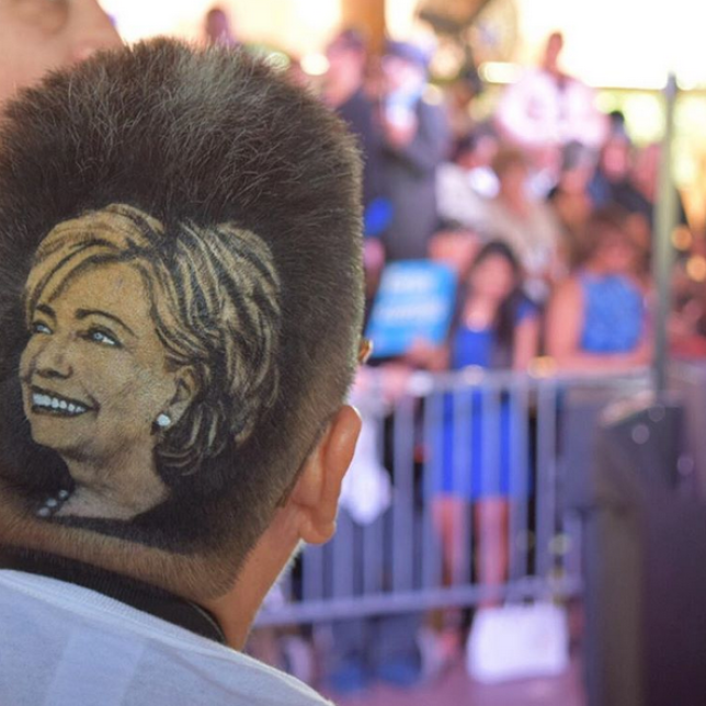 70 year old woman shaved portrait of hillary clinton into her hair
