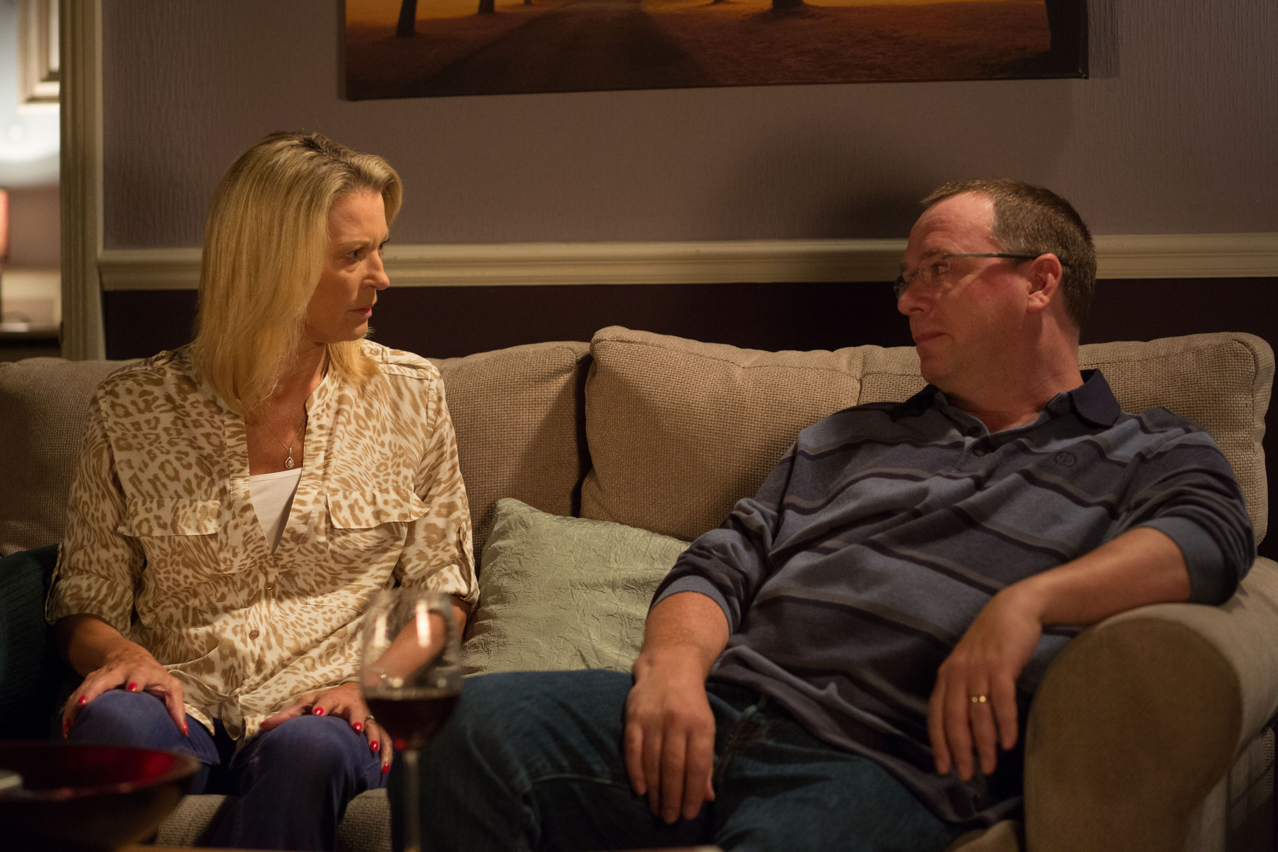 WARNING: Embargoed for publication until 00:00:01 on 13/10/2015 - Programme Name: EastEnders - TX: 20/10/2015 - Episode: 5158 (No. n/a) - Picture Shows: ***FORTNIGHTLIES PLEASE DO NOT USE (SOAP LIFE and ALL ABOUT SOAP) Ian drops a bombshell on Kathy. Kathy Sullivan (GILLIAN TAYLFORTH), Ian Beale (ADAM WOODYATT) - (C) BBC - Photographer: Jack Barnes