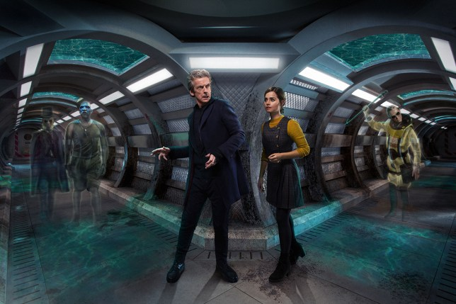 WARNING: Embargoed for publication until 00:00:01 on 29/09/2015 - Programme Name: Doctor Who - TX: 03/10/2015 - Episode: AFTER THE LAKE (By Toby Whithouse) (No. 3) - Picture Shows: ***EMBARGOED UNTIL 29th SEPT 2015*** Prentis (PAUL KAYE), Moran (COLIN McFARLANE), Doctor Who (PETER CAPALDI), Clara (JENNA COLEMAN), Pritchard (STEVEN ROBERTSON) - (C) BBC - Photographer: Simon Ridgway