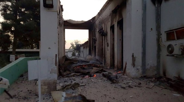 """In this photograph released by Medecins Sans Frontieres (MSF) on October 3, 2015, fires burn in part of the MSF hospital in the Afghan city of Kunduz after it was hit by an air strike. An air strike on a hospital in the Afghan city of Kunduz on October 3 left three Doctors Without Borders staff dead and dozens more unaccounted for, the medical charity said, with NATO conceding US forces may have been behind the bombing. The MSF facility is seen as a key medical lifeline in the region and has been running """"beyond capacity"""" during recent fighting that saw the Taliban seize control of the provincial capital for several days. AFP PHOTO / MSF ----EDITORS NOTE---- RESTRICTED TO EDITORIAL USE - MANDATORY CREDIT """"AFP PHOTO/MSF"""" - NO MARKETING NO ADVERTISING CAMPAIGNS - DISTRIBUTED AS A SERVICE TO CLIENTS -----MSF/AFP/Getty Images"""
