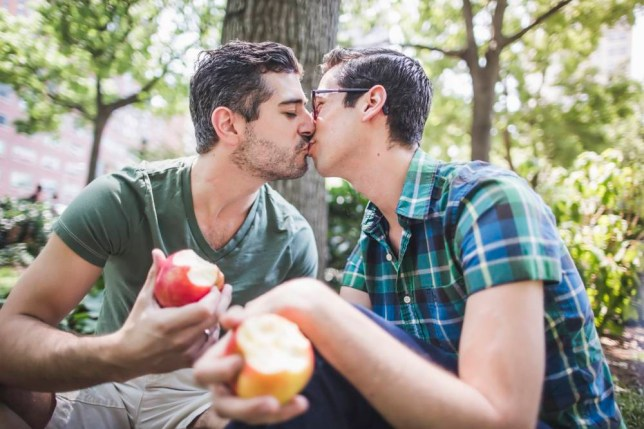 Gay couple kissing in park