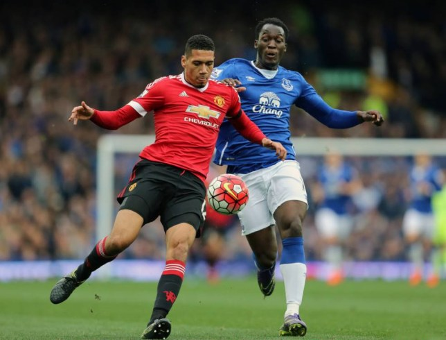 LIVERPOOL, ENGLAND - OCTOBER 17: Chris Smalling of Manchester United and Romelu Lukaku of Everton during the Barclays Premier League match between Everton and Manchester United at Goodison Park on October 17, 2015 in Liverpool, England. (Photo by James Baylis - AMA/Getty Images)