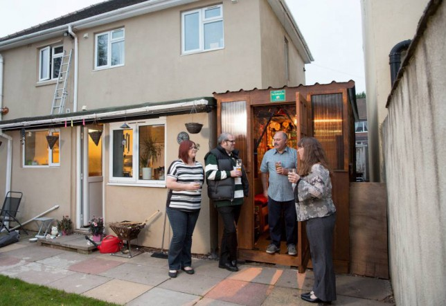 Two couples built a pub between their houses for just £80 and stocked it full of homebrew