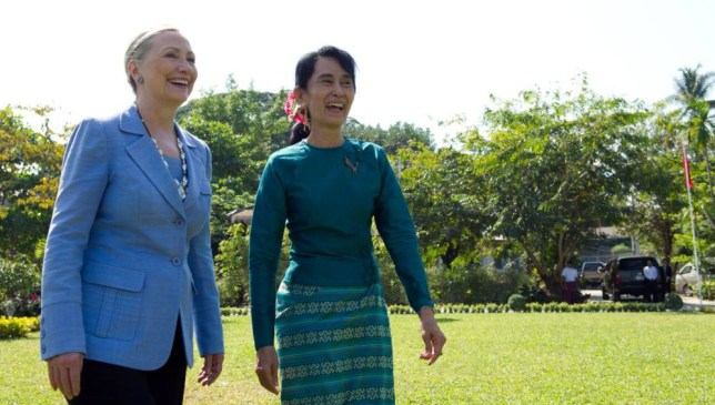 Mandatory Credit: Photo by News Pictures/REX Shutterstock (1514676b) U.S. Secretary of State Hillary Clinton visits Aung San Suu Kyi at her house in Rangoon US State Visit to Burma - 02 Dec 2011