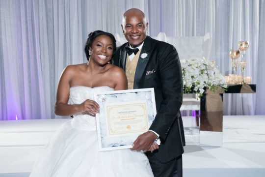 """MUST LINK BACK: www.clarkbailey.net This blushing bride proved that she waited until marriage - presenting her dad with a """"certificate of purity"""" on her wedding day. Brelyn Bowman wanted to show her dad, a prominent pastor in Maryland, that she was still a virgin before she said """"I do"""" to her longtime boy toy at a lavish ceremony Oct. 10 that included more than 3,500 people. To make her innocence official, Bowman took matters into her own hands. """"I was able to present a certificate of purity to [my dad] signed by my doctor that my hymen was still intact,"""" Bowman wrote on her Instagram page along with a photo of her first dance with her old man at the wedding. """"If one person has made a decision to wait until marriage or decide to stop & wait we have done our job,"""" she wrote on another photo. """"Let's make Jesus famous!"""""""