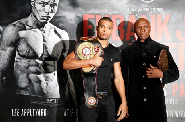 Boxing - Chris Eubank Jnr & Tony Jeter Head-to-Head Press Conference - Mercure Hotel, Sheffield - 22/10/15 Chris Eubank Jnr poses with his father Chris Eubank after the press conference Mandatory Credit: Action Images / Lee Smith Livepic EDITORIAL USE ONLY.