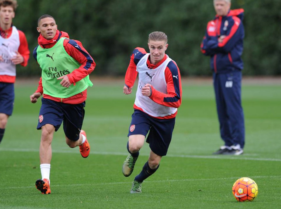 ST ALBANS, ENGLAND - OCTOBER 23: (L-R) Kieran Gibbs and Ben Sheaf of Arsenal during a training session at London Colney on October 23, 2015 in St Albans, England. (Photo by Stuart MacFarlane/Arsenal FC via Getty Images)