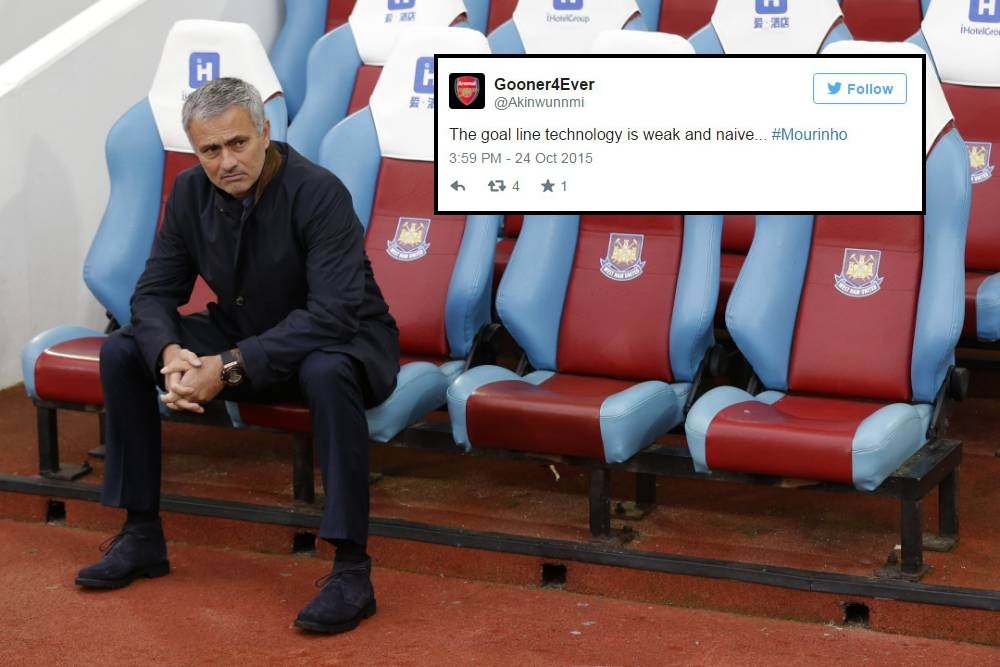 Arsenal fans expect Jose Mourinho to call Hawkeye weak and naive after goal-line decision during West Ham v Chelsea