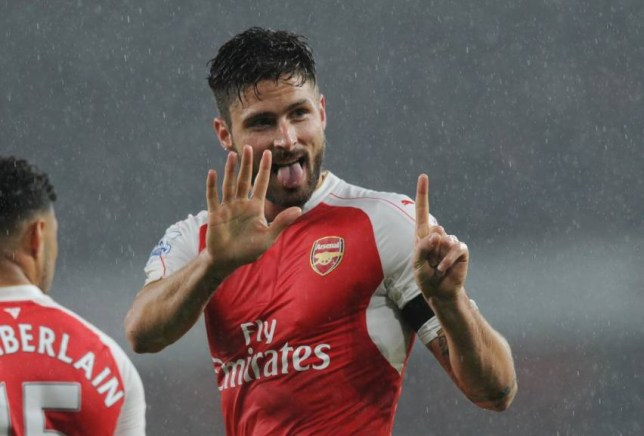 LONDON, ENGLAND - OCTOBER 24: Olivier Giroud celebrates scoring the 1st Arsenal goal during the Barclays Premier League match between Arsenal and Everton at Emirates Stadium on October 24, 2015 in London, England. (Photo by Stuart MacFarlane/Arsenal FC via Getty Images)