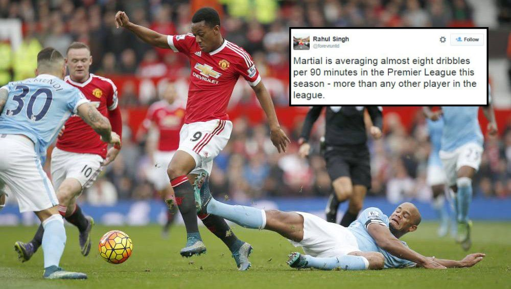 Stats show Manchester United new-boy Anthony Martial is the Premier League's best dribbler