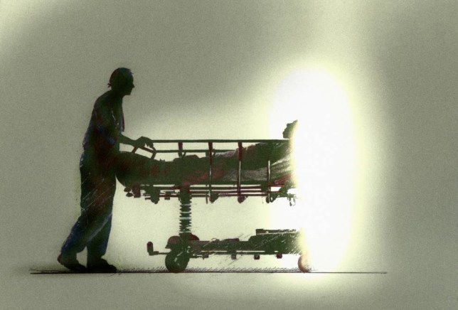 Doctor pushing patient on stretcher towards bright light