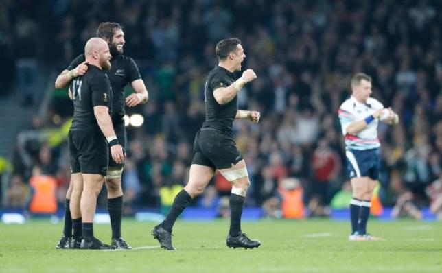 New Zealand's Daniel Carter celebrates winning the Rugby World Cup final between New Zealand and Australia at Twickenham Stadium, London, Saturday, Oct. 31, 2015. New Zealand won the match 34-17. (AP Photo/Frank Augstein)