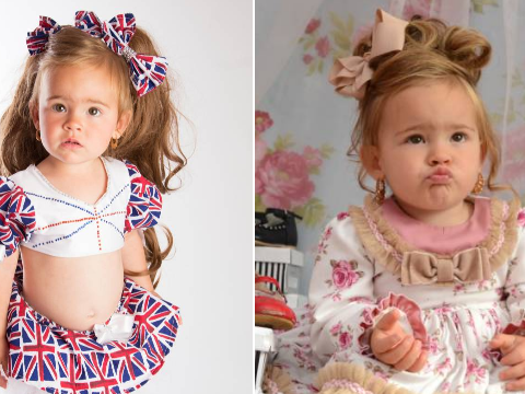 Mum spends a casual £20,000 dressing up her toddler in designer clothes, make-up and hair extensions