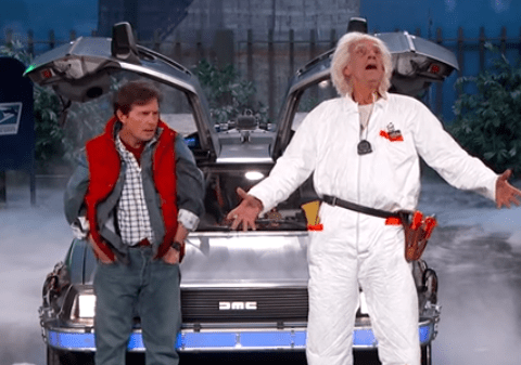 Doc Brown and Marty McFly have reunited for Back To The Future day on Jimmy Kimmel and it's EVERYTHING