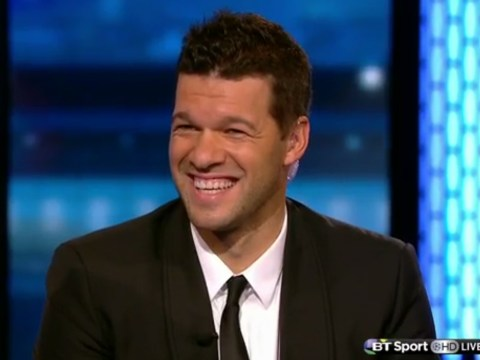 Michael Ballack laughs when asked how Per Mertesacker will cope with Robert Lewandowski before Arsenal v Bayern Munich