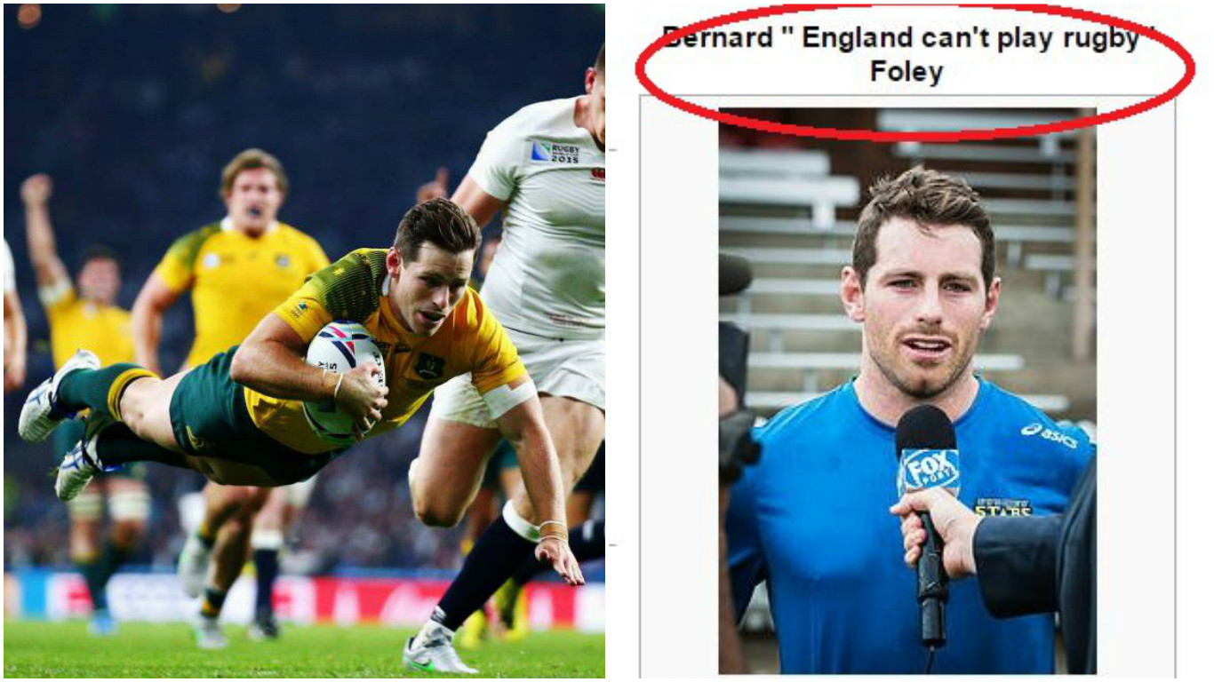 Australia's Bernard Foley scores two tries v England, fan trolls hosts by altering his Wikipedia page