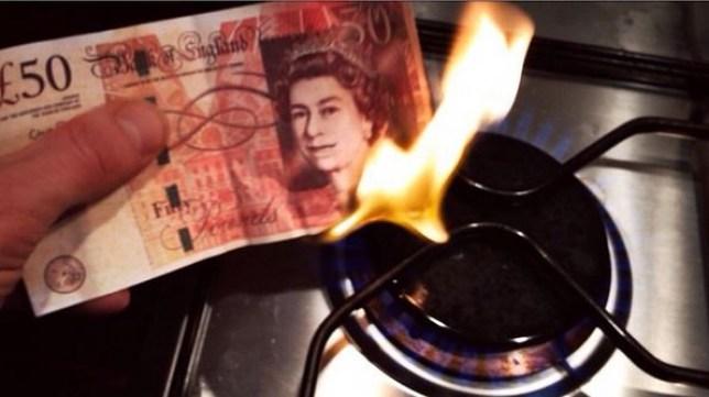 £50 note being burned by artist Brooke Purvis