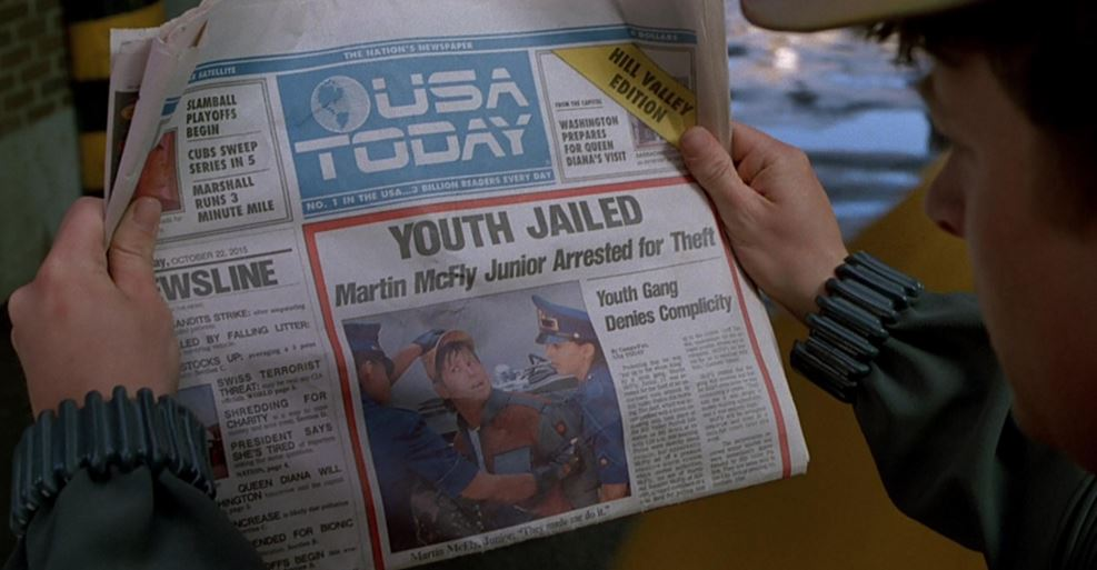 USA Today has recreated the front page from Back to the Future Part II