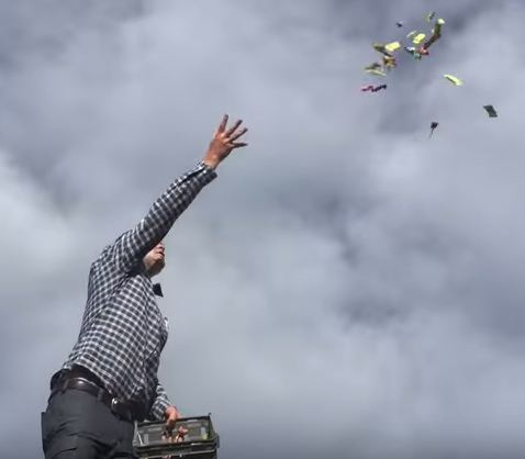 This dude even threw some sweets off a roof to celebrate (Picture: Badkarin/YouTube)