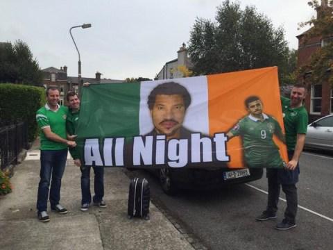 Irish fans create genius Lionel Richie/Shane Long flag before Poland v Ireland Euro 2016 qualifier