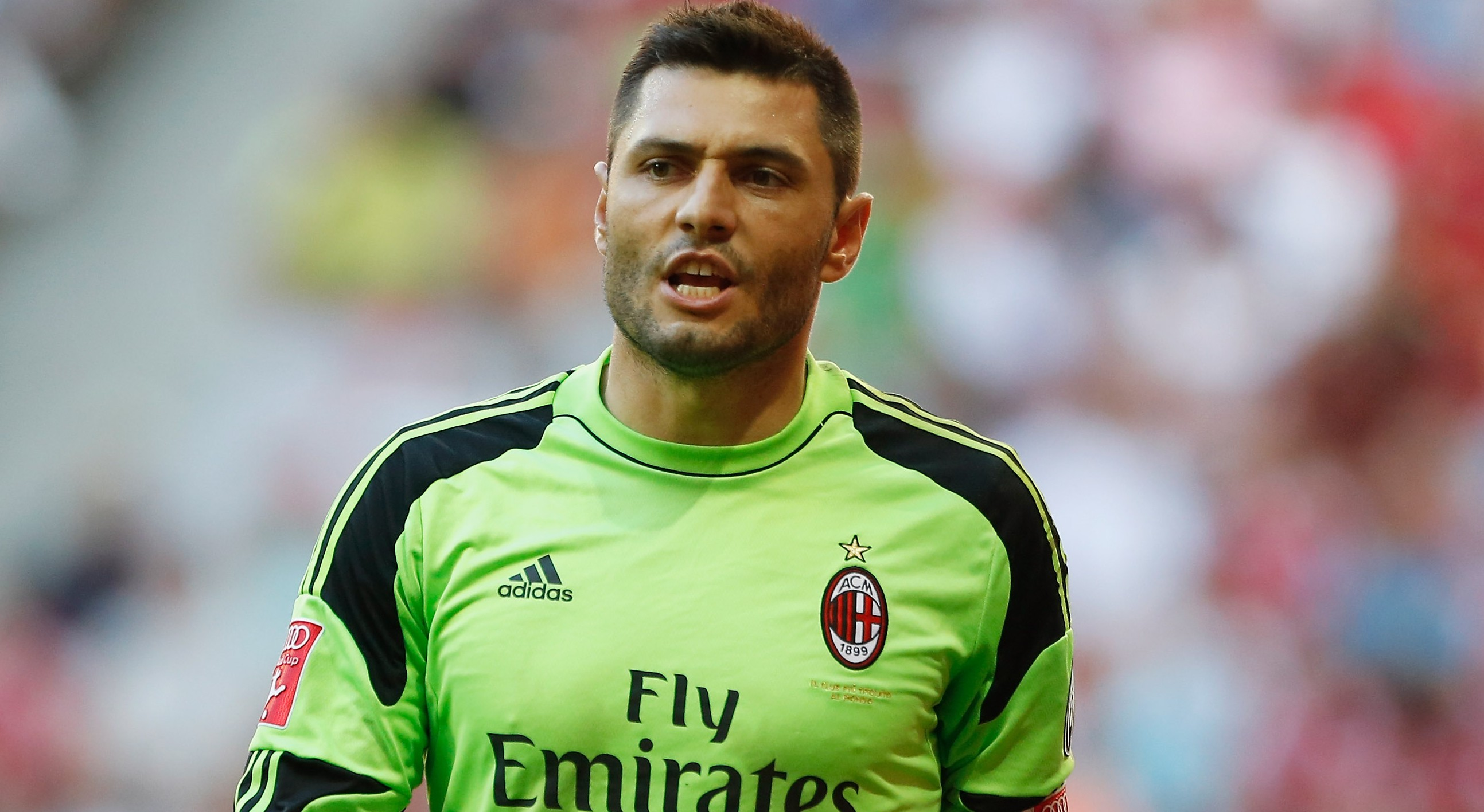 MUNICH, GERMANY - AUGUST 01: Goalkeeper Marco Amelia of Milan reacts during the Audi Cup 2013 third place match between FC Sao Paulo and AC Milan at Allianz Arena on August 1, 2013 in Munich, Germany. (Photo by Boris Streubel/Getty Images)