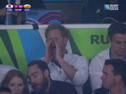 Prince Harry gets behind England as they trail to Australia at Rugby World Cup 2015