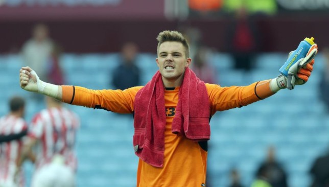 BIRMINGHAM, ENGLAND - OCTOBER 3: Jack Butland of Stoke City celebrates his sides victory after the final whistle during the Barclays Premier League match between Aston Villa and Stoke City at Villa Park on October 3, 2015 in Birmingham, England. (Photo by Clint Hughes/Getty Images)