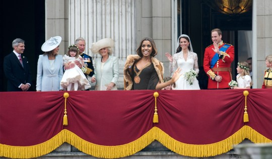 : (L-R) Michael Middleton, Carole Middleton, Eliza Lopes, Prince Charles, Prince of Wales, Camilla, Duchess of Cornwall and Lady Louise Windsor, Grace Van Cutsem, Prince William, Duke of Cambridge and Catherine, Duchess of Cambridge stand on the balcony of Buckingham Palace at Westminster Abbey on April 29, 2011 in London, England.