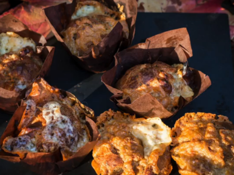 Make this easy cheesy sausage muffin recipe for Bonfire Night