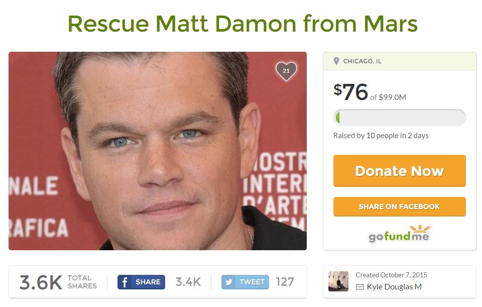 Rescue Matt Damon from Mars