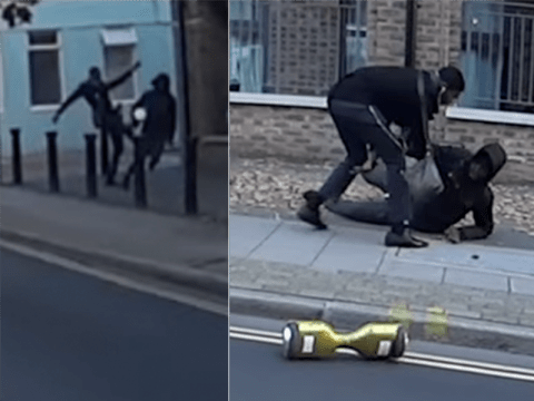 Passer-by takes down 'robber' who tried to steal a kid's hoverboard