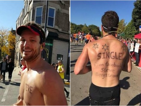 Runner writes 'single man' on his back and got lots of attention