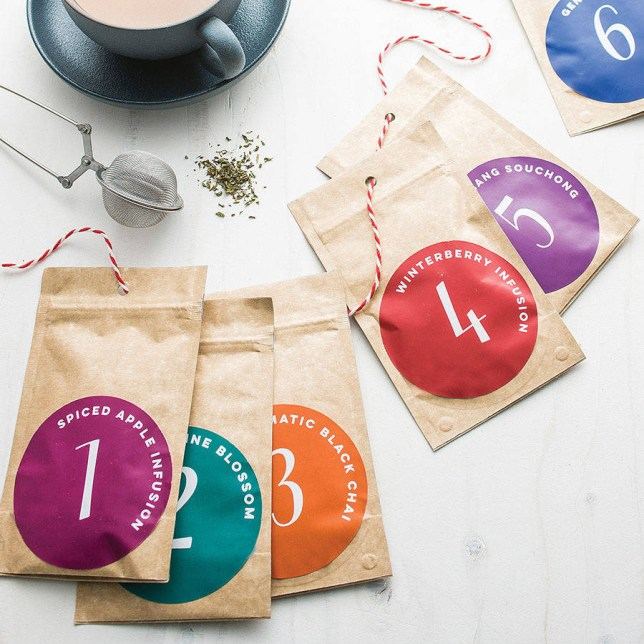luxury loose tea advent calendar with a strainer