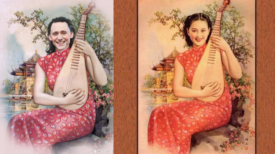 If you've always wondered what Tom Hiddleston, Benedict Cumberbatch, Liam Hemsworth and Lee Pace might look like as demure, cheongsam-clad women, wonder no more. These images place the actors over vintage ads from Shanghai in the 1930s, and are going viral on the Chinese web just a day after they were posted. This expert Photoshopping is the work of Weibo user qonghongzaolegebai, who has been digitally altering TV scenes and movie posters and posting them to the Chinese social network Credit: Weibo/qonghongzaolegebai