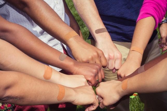 true colour bandages makes plasters for different skin tones