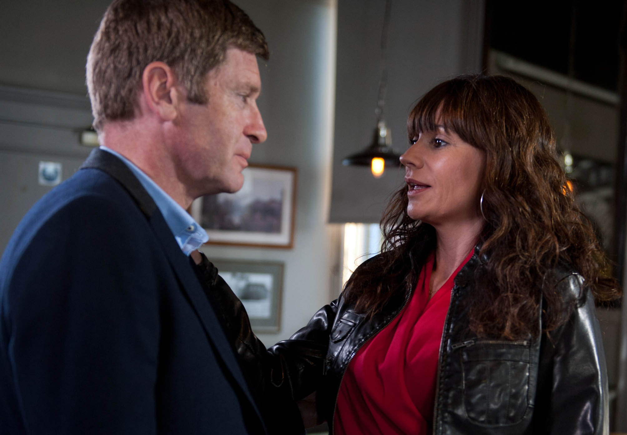FROM ITV STRICT EMBARGO - No Use Before Tuesday 15 December 2015 Emmerdale - 7388 Friday 1 January 2016 Chas Dingle [LUCY PARGETTER] fakes a hangover so she can meet up with Gordon [GARY MAVERS] but she's left shocked by what Gordon tells her. They share their experiences about life after their split but is Gordon being honest? Chas surprises herself when she kisses Gordon but how will Aaron react if he finds out his mum has seen his dad? Picture contact: david.crook@itv.com on 0161 952 6214 Photographer - Amy Brammall This photograph is (C) ITV Plc and can only be reproduced for editorial purposes directly in connection with the programme or event mentioned above, or ITV plc. Once made available by ITV plc Picture Desk, this photograph can be reproduced once only up until the transmission [TX] date and no reproduction fee will be charged. Any subsequent usage may incur a fee. This photograph must not be manipulated [excluding basic cropping] in a manner which alters the visual appearance of the person photographed deemed detrimental or inappropriate by ITV plc Picture Desk. This photograph must not be syndicated to any other company, publication or website, or permanently archived, without the express written permission of ITV Plc Picture Desk. Full Terms and conditions are available on the website www.itvpictures.comFROM ITV STRICT EMBARGO - No Use Before Tuesday 15 December 2015 Emmerdale - 7383 Monday 28th December 2015 Paddy Kirk [DOMINIC BRUNT] meets up with Tess and is touched when she gives him a Christmas present. She suggests he takes her to the cinema. Later, Paddy is sickened by a close shave when he has to cover to Rhona Goskirk [ZOE HENRY]. Picture contact: david.crook@itv.com on 0161 952 6214 Photographer - Amy Brammall This photograph is (C) ITV Plc and can only be reproduced for editorial purposes directly in connection with the programme or event mentioned above, or ITV plc. Once made available by ITV plc Picture Desk, this photograph can be reprod