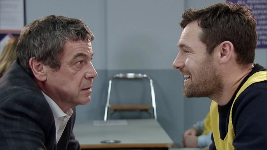 FROM ITV STRICT EMBARGO - No Use Before Tuesday 1 December 2015 Coronation Street - Ep 8791 Friday 11 December 2015 - 1st Ep Johnny Connor [RICHARD HAWLEY] later visits Rob Donovan [MARC BAYLIS] in prison. As Rob drops a bombshell on Johnny he's left reeling from Rob's shock revelation. Picture contact: david.crook@itv.com on 0161 952 6214 Photographer - Joseph Scanlon This photograph is (C) ITV Plc and can only be reproduced for editorial purposes directly in connection with the programme or event mentioned above, or ITV plc. Once made available by ITV plc Picture Desk, this photograph can be reproduced once only up until the transmission [TX] date and no reproduction fee will be charged. Any subsequent usage may incur a fee. This photograph must not be manipulated [excluding basic cropping] in a manner which alters the visual appearance of the person photographed deemed detrimental or inappropriate by ITV plc Picture Desk. This photograph must not be syndicated to any other company, publication or website, or permanently archived, without the express written permission of ITV Plc Picture Desk. Full Terms and conditions are available on the website www.itvpictures.com