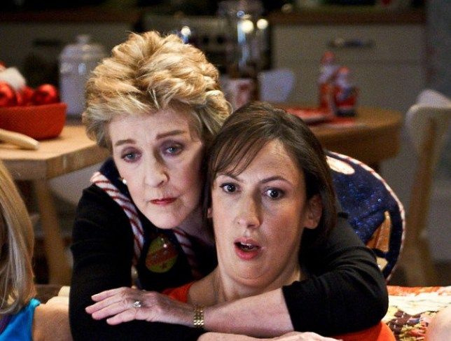 Programme Name: Miranda - TX: n/a - Episode: n/a (No. 1) - Embargoed for publication until: 05/12/2012 - Picture Shows: Stevie (SARAH HADLAND), Penny (PATRICIA HODGE), Miranda (MIRANDA HART), Gary (TOM ELLIS), Tilly (SALLY PHILLIPS) - (C) BBC - Photographer: Des Willie
