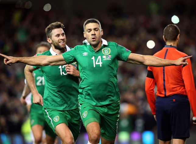 Ireland's striker Jonathan Walters (C) celebrates after scoring his team's first goal from a penalty during a UEFA Euro 2016 Group D qualifying second leg play-off football match between Ireland and Bosnia Herzegovina at the Aviva stadium in Dublin on November 16, 2015. AFP PHOTO / PAUL FAITH (Photo credit should read PAUL FAITH/AFP/Getty Images)