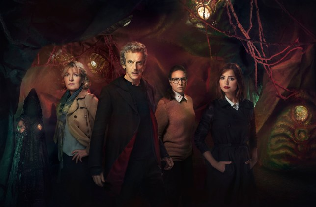Doctor Who (PETER CAPALDI), Osgood (INGRID OLIVER), Clara (JENNA COLEMAN) in the Zygon Inversion
