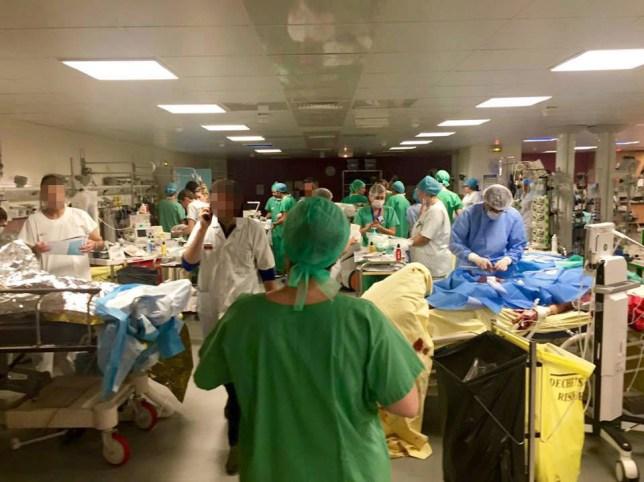 PARIS ATTACKS - The overloaded Recovery Room of Saint Louis Hospital, Paris. Image taken by Dr Pourya Pashootan, Clinical Director at the Saint Louis Hospital. PIC: Dr Pourya Pashootan/Saint Louis Hospital HYPERLINK: http://www.actusoins.com/268388/emotions-pensees-et-soutien-aux-victimes-a-leurs-familles-et-aux-soignants.html