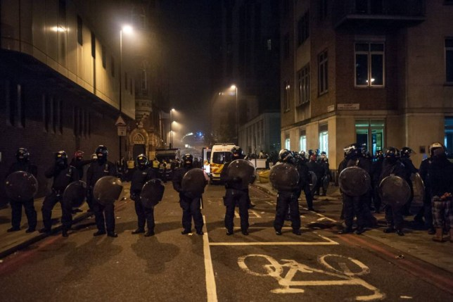 Hundreds of riot police guard the streets after the disorder in Lambeth. The rioting started earlier in the evening when an illegal Halloween rave was shut down. Featuring: View Where: London, United Kingdom When: 01 Nov 2015 Credit: WENN.com