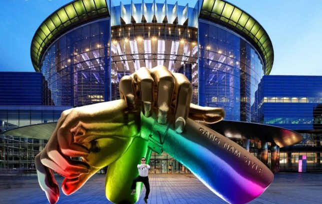 "A handout computer generated image released by Gangnam District Office on November 6, 2015 shows a metal sculpture consisted of two giant fists overlapped at the wrist in the style of the horse dance, outside the COEX shopping and exhibition centre in Seoul. A statue dedicated to South Korean singer Psy's global music video hit ""Gangnam Style"" is to be erected in the eponymous, upscale Seoul district made famous by the song. AFP PHOTO / Gangnam District Office ---- EDITORS NOTE ---- RESTRICTED TO EDITORIAL USE MANDATORY CREDIT ""AFP PHOTO / Gangnam District Office"" NO MARKETING NO ADVERTISING CAMPAIGNS - DISTRIBUTED AS A SERVICE TO CLIENTSGANGNAM DISTRICT OFFICE/AFP/Getty Images"