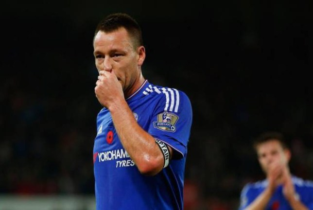 STOKE ON TRENT, ENGLAND - NOVEMBER 07: John Terry of Chelsea reacts after his team's 0-1 defeat in the Barclays Premier League match between Stoke City and Chelsea at Britannia Stadium on November 7, 2015 in Stoke on Trent, England. (Photo by Laurence Griffiths/Getty Images)