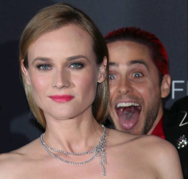 LOS ANGELES, CA - NOVEMBER 07: Actor Jared Leto (R) photobombs actress Diane Kruger at the LACMA Art + Film Gala honoring Alejandro G. Iҷrritu and James Turrell and presented by Gucci at LACMA on November 7, 2015 in Los Angeles, California. (Photo by David Livingston/Getty Images)