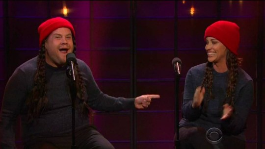 """10 November 2015 - Los Angeles - USA **** STRICTLY NOT AVAILABLE FOR USA *** Alanis Morissette updates lyrics for her smash hit Ironic as she duets with James Corden on The Late Late Show. The singer was joined by Corden to sing the hit - which she had updated for 2015 and now featured ironies about Uber, Tweets, Facebook, Netflix and iPhones. THe pair sang such hilarious lyrics as: """"Someone sends you a Facebook request and you only find out they're racist after you accept,"""" as well as: """"It's Snapchat that you wish you had saved,"""" and: """"It's like Amazon but your package never came."""" XPOSURE PHOTOS DOES NOT CLAIM ANY COPYRIGHT OR LICENSE IN THE ATTACHED MATERIAL. ANY DOWNLOADING FEES CHARGED BY XPOSURE ARE FOR XPOSURE'S SERVICES ONLY, AND DO NOT, NOR ARE THEY INTENDED TO, CONVEY TO THE USER ANY COPYRIGHT OR LICENSE IN THE MATERIAL. BY PUBLISHING THIS MATERIAL , THE USER EXPRESSLY AGREES TO INDEMNIFY AND TO HOLD XPOSURE HARMLESS FROM ANY CLAIMS, DEMANDS, OR CAUSES OF ACTION ARISING OUT OF OR CONNECTED IN ANY WAY WITH USER'S PUBLICATION OF THE MATERIAL. BYLINE MUST READ : CBS/XPOSUREPHOTOS.COM PLEASE CREDIT AS PER BYLINE *UK CLIENTS MUST CALL PRIOR TO TV OR ONLINE USAGE PLEASE TELEPHONE 44 208 344 2007"""