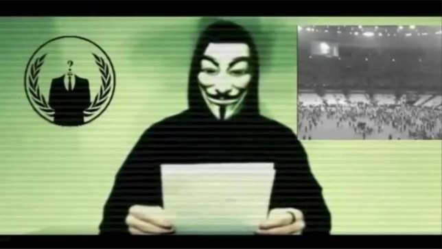 A man wearing a mask associated with Annonymous makes a statement in this still image from a video released on November 16, 2015. The Anonymous hackers collective is preparing to unleash waves of cyberattacks on Islamic State following the attacks in Paris last week that killed 129 people, it declared in the video posted online. REUTERS/Social Media Website via Reuters TV ATTENTION EDITORS - THIS PICTURE WAS PROVIDED BY A THIRD PARTY. REUTERS IS UNABLE TO INDEPENDENTLY VERIFY THE AUTHENTICITY, CONTENT, LOCATION OR DATE OF THIS IMAGE. FOR EDITORIAL USE ONLY. NOT FOR SALE FOR MARKETING OR ADVERTISING CAMPAIGNS. NO RESALES. NO ARCHIVE. THIS PICTURE IS DISTRIBUTED EXACTLY AS RECEIVED BY REUTERS, AS A SERVICE TO CLIENTS.