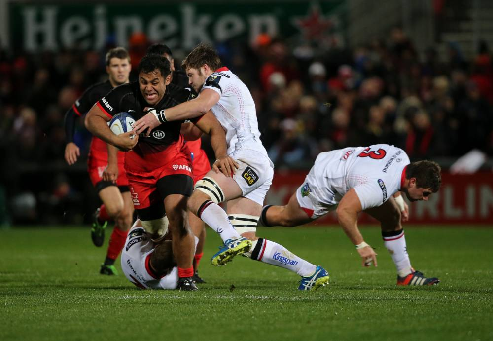 Ulster's Iain Henderson challenges Saracens' Billy Vunipola during the European Champions Cup match at Kingspan Stadium, Belfast. PRESS ASSOCIATION Photo. Picture date: Friday November 20, 2015. See PA story RUGBYU Ulster. Photo credit should read: Niall Carson/PA Wire. RESTRICTIONS: Editorial use only. No commercial or promotional use without prior consent from IRFU. No alterations or doctoring. For further information please call +44 (0)115 8447447.