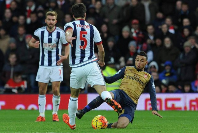WEST BROMWICH, ENGLAND - NOVEMBER 21: Francis Coquelin of Arsenal tackles Claudio Yacob of West Brom during the Barclays Premier League match between West Bromwich Albion and Arsenal at The Hawthorns on November 21, 2015 in West Bromwich, England. (Photo by David Price/Arsenal FC via Getty Images)