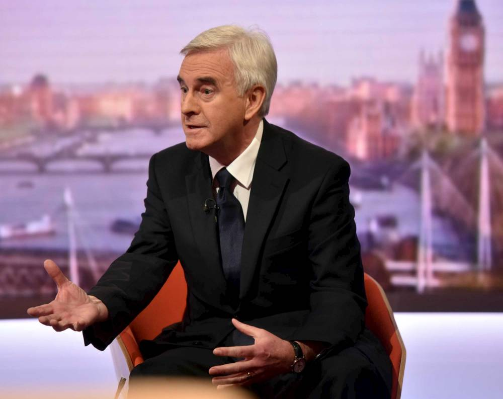 Britain's Shadow Chancellor John McDonnell takes part in the Marr Show in BBC studios in London, November 22, 2015. REUTERS/Jeff Overs/BBC/Handout via Reuters ATTENTION EDITORS - THIS PICTURE WAS PROVIDED BY A THIRD PARTY. IT IS DISTRIBUTED EXACTLY AS RECEIVED BY REUTERS, AS A SERVICE TO CLIENTS. EDITORIAL USE ONLY. NOT FOR SALE FOR MARKETING OR ADVERTISING CAMPAIGNS. NO RESALES. NO ARCHIVE.
